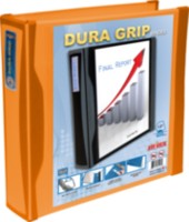 DuraGrip 1 Inch D Ring View Binder, Hard Poly, Orange