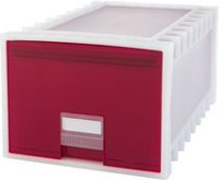 Storex Archive Storage Box, Letter/Legal, 24-Inch Depth, White/Red