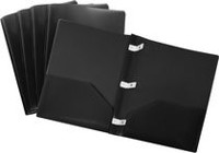Storex Poly Portfolios With Plastic Prongs, 5 Pack, Black