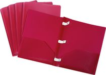 Storex Poly Portfolios With Plastic Prongs, 5 Pack, Red