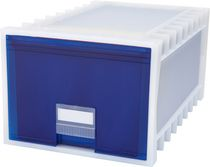 Storex Archive Storage Box, Letter/Legal, 24-Inch Depth, White/Blue