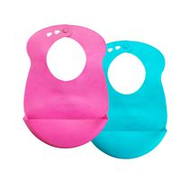 Tommee Tippee Girls' Roll 'N' Go Bib, Pack of 2