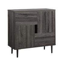"""30"""" Modern Color Pop Accent Cabinet - Slate Grey/Red Interior"""