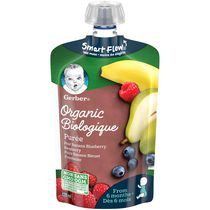 Purée GERBER® Biologique Poire Banane Bleuet Framboise alim. bébé, 128 ml