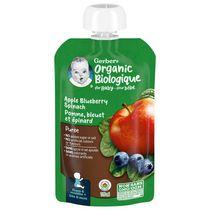 Purée GERBER® Biologique Pomme Bleuet Épinard, aliment pour bébé, 128 ml