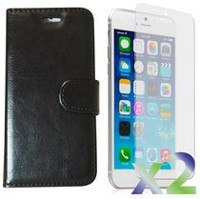 Exian Leather Wallet Case for iPhone 6 Plus - Black