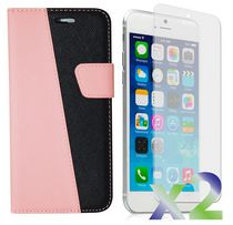Exian Leather Wallet Case for iPhone 6 Plus - Black & Pink