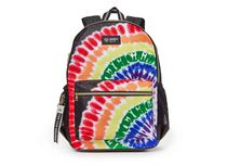 """Justice™ Brand Girls Tie Dye Nylon Multi Compartment Backpack 17"""" Backpack with Texture Rubber Embossed Keychain"""