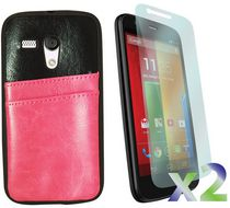 Exian Leather Case with Card Slot for Moto G - Pink