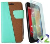 Exian Screen Guard Protectors and Case for Motorola Moto G - Multi-Colour Wallet, Green/Brown