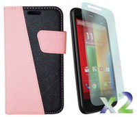 Exian Screen Guard Protectors Case for Motorola Moto G  - Multi-Colour Wallet, Pink/Black