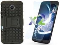 Exian Armored Case with Stand for Moto X2 - Black
