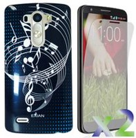 Exian Case for LG G3, Musical Notes - Black