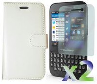 Exian Leather Wallet Case for Blackberry Q5 White