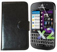 Exian Leather Wallet Case for Blackberry Q10 Black