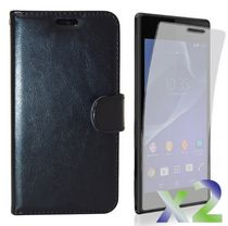 Exian Leather Wallet Case for Xperia M2 - Black