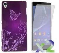 Exian Case for Xperia Z2, Butterflies and Flowers - Purple