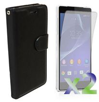 Exian Leather Wallet Case for Xperia Z2 Black