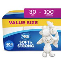 Great Value 30 Rolls Ultra Soft  2-Ply Family Size Bath Tissues