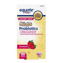 Equate Children's Chewable Daily Probiotics 2Billion Cfu 10 Child-Friendly Strains with Vitamins C & D