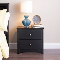 Prepac fremont espresso tall 2 drawer nightstand with open for Lit table de nuit integree