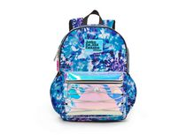 """Justice™ Brand Girls Tie Dye Nylon Multi Compartment 17"""" Backpack with Shiny Holographic Pocket and Bungee Cord Feature"""