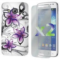 Exian Case for Samsung Galaxy Core LTE, Floral Pattern - White & Purple