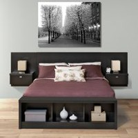 Prepac Series 9 Designer Floating Headboard with Nightstands Black Queen