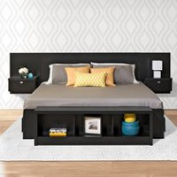 Prepac Series 9 Designer Floating Headboard with Nightstands Black King