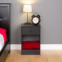 Prepac Astrid Black Tall 1-Drawer Nightstand