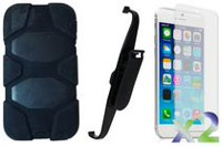 Exian Armored Case with Belt Clip for iPhone 6 Plus - Black