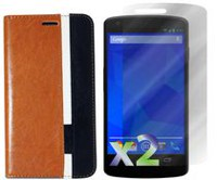 Exian Leather Wallet Case For LG Nexus  5 - Brown, White & Black