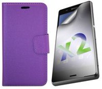 Exian Leather Wallet Case for Xperia Z3 Purple