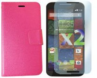 Exian Leather Wallet Case for Moto X2 Pink