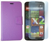 Exian Leather Wallet Case for Moto X2 Purple