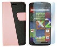 Exian Leather Wallet Case for Moto X2 - Pink & Black