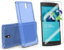Exian Screen Protectors x2 and TPU Case for OnePlus One  -Transparent Blue