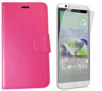 Exian Wallet Case for Desire 510 - Hot Pink