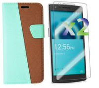 Exian Case for OnePlus One - Leather Wallet With Screen Protector Green