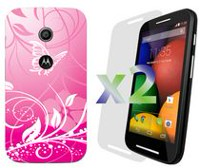 Exian Case for Moto E, Butterflies and Flowers - Pink