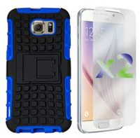 Exian Armored Case with stand Case for Samsung Galaxy S6 - Blue
