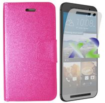 Exian Wallet Case for HTC One M9 - Hot Pink