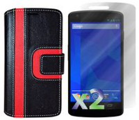 Exian Wallet Case for Nexus 5, Striped Pattern - Black and Red