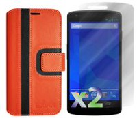 Exian Wallet Case for Nexus 5, Striped Pattern - Orange and Black