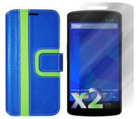 Exian Wallet Case for Nexus 5, Striped Pattern - Blue and Green