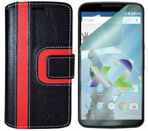 Exian Wallet Case for Nexus 6, Striped Pattern - Black and Red