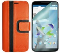 Exian Wallet Case for Nexus 6, Striped Pattern - Orange and Black