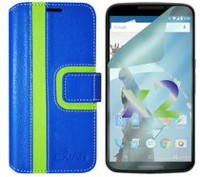 Exian Wallet Case for Nexus 6, Striped Pattern - Blue and Green