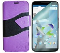Exian Wallet Case for Nexus 6, Wave Pattern - Purple and Black