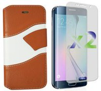 Exian Wallet Case for LG G3, Wave Pattern - Beige and White